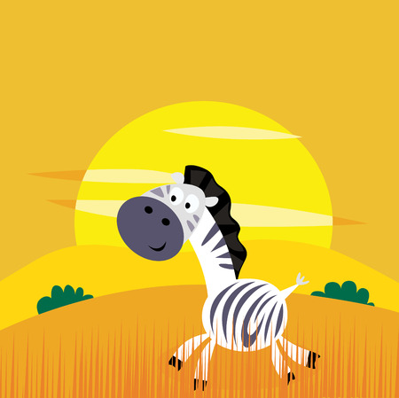 Illustration of zebra in the nature. Beautiful yellow sunset behind the animal. Vector