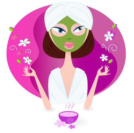 Young woman is practicing aromatherapy with nature flowers. Vector illustration of beauty girl isolated on pink background. Ilustração