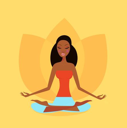 安らぎ: ロータスのヨガの位置で瞑想女の子。自然と調和した穏やかな女性。オレンジ色の背景色は平和な雰囲気をもたらします。