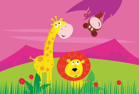 Funny jungle africa animals: Giraffe, Lion and Monkey Vector