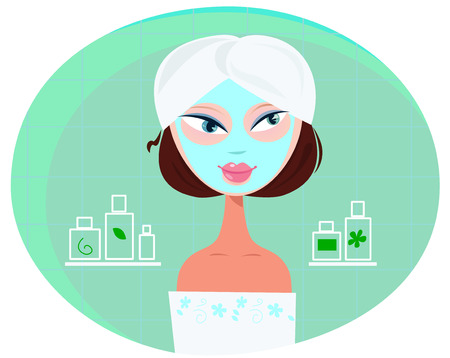 Beautiful girl woman with facial mask in bathroom.  Stock Vector - 7327713