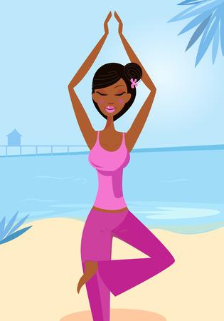 indian yoga: Donna nella struttura di yoga pongono sulla spiaggia soleggiata. Sexy woman pratica di asana - posa yoga albero. Calma blu oceano sfondo dietro la ragazza.  Vettoriali