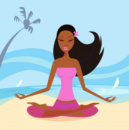 M�dchen tun Yoga-Lotus-Position am Strand