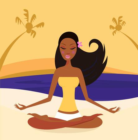 dark hair: Mujer haciendo la posici�n de loto de yoga en el estilo de la puesta del sol, retro de playa  Vectores