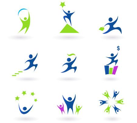 �resource: Colecci�n de iconos negocio, �xito y dinero humanos - azules