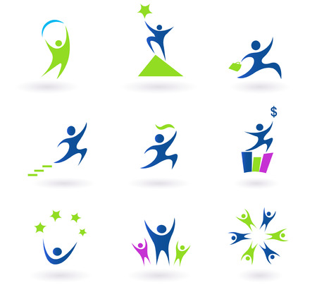 reach: Collection of human business, success and money icons - blue