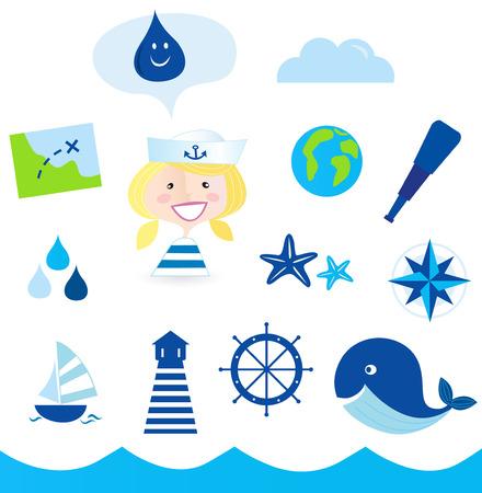 Icônes nautiques, marin et aventure - bleus