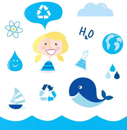 ciclo del agua: Reciclar agua: iconos n�uticos, oc�ano, agua y naturaleza de la escuela  Vectores
