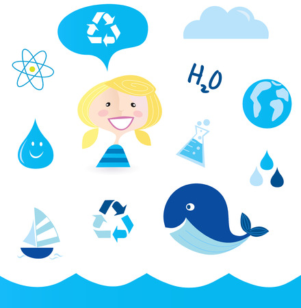 blue whale: Recycle water: school nautical , ocean, water and nature icons