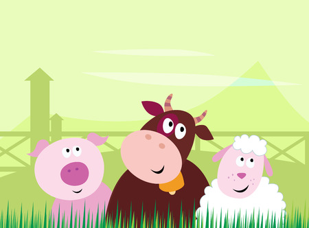 Farm animals - Pig, Cow and Sheep.  Vector