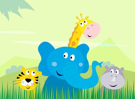 Cute safari Jungle animals - Tiger, Elephant, Giraffe and Rhinoceros