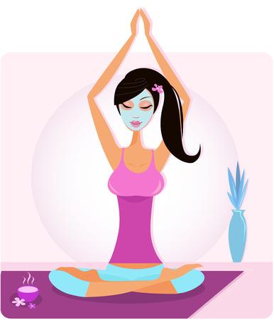 mujer feliz fondo blanco: Chica de yoga con m�scara facial practicando asana yoga