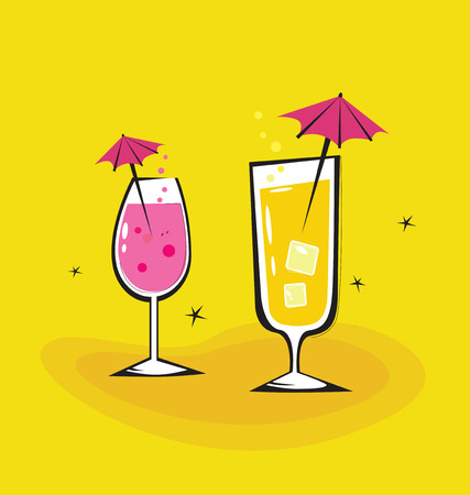 Two retro drinks isolated on orange background. Cocktail glasses in retro style isolated on orange background. Take hot summer mixed drinks. Vector