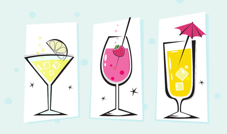 cocktail dress: Stylized retro drinks collection isolated white background. Take hot summer mixed drinks