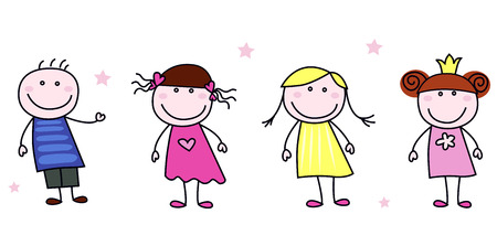 Stick figure inspired children in different characters.  Illustration isolated on white. Vector