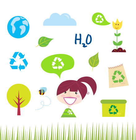 Recycle, nature and ecology icons isolated on white background Vector
