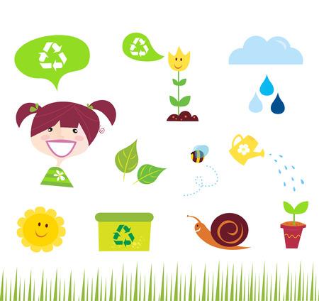 ni�os reciclando: Iconos de agricultura, el jard�n y la naturaleza aislados sobre fondo blanco  Vectores