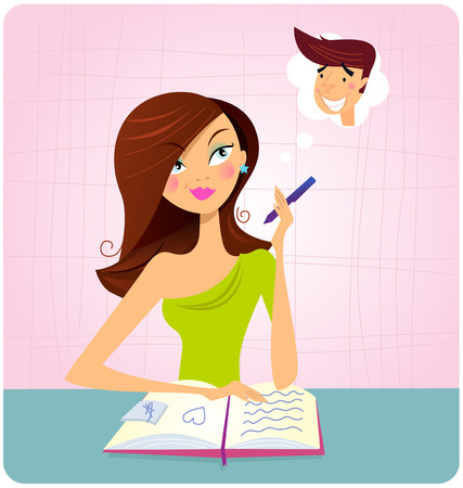 writers: Young student girl is daydreaming while studying. This student girl is is doing homework or reading book and dreaming about this sexy boy. Illustration.
