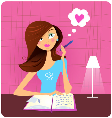 creative writing: Teenage girl writing diary and dreaming about love