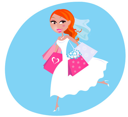 Bride is preparing to marriage. She is doing shopping before wedding.  illustration of cute Bride in white dress with shopping bags. Vector