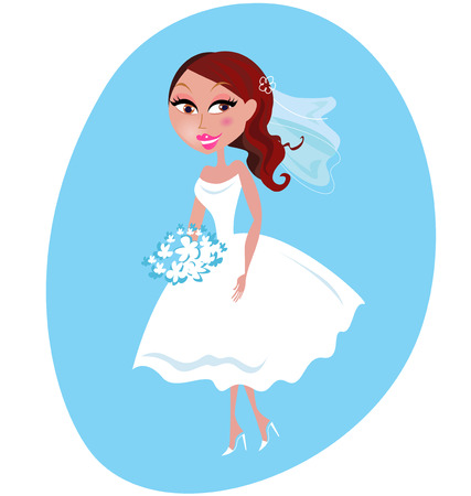 Beautiful Bride in white wedding dress isolated on blue background.   cartoon Illustration. Vector