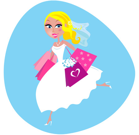 Bride with shopping bags Vector