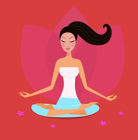 Chica de yoga en posición de loto aislado sobre fondo rojo