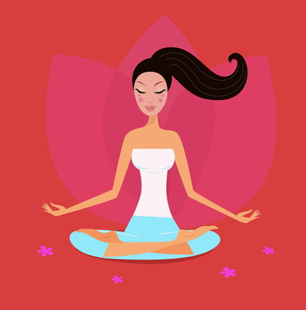 healthy woman white background: Yoga girl in lotus position isolated on red background