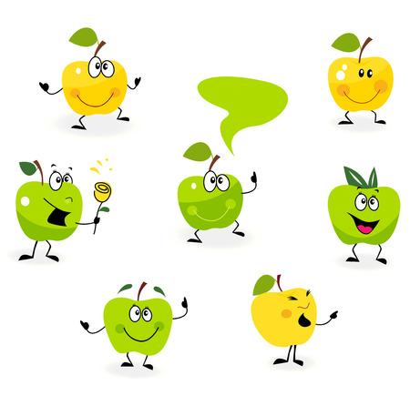 manzana caricatura: Funny verdes Apple fruta personajes aislados sobre fondo blanco. Conjunto de fruta de Apple con caras divertidas. Ilustraci�n  Vectores