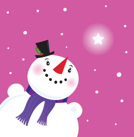 Happy snowman looking at the snow and christmas star. Illustration. Vector