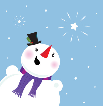 Happy Snowman looking at snow and christmas star.  Illustration. Vector
