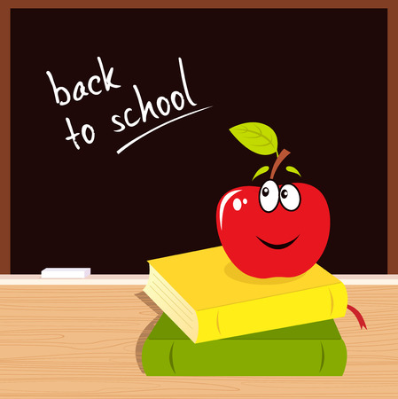 to know: Back to school: apple, books and black board Illustration