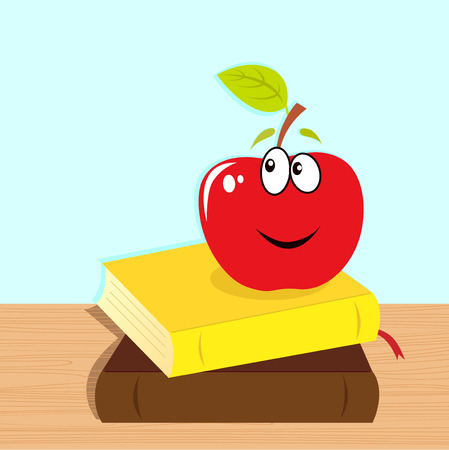 Back to school: books and red smiling apple character Stock Vector - 7852371