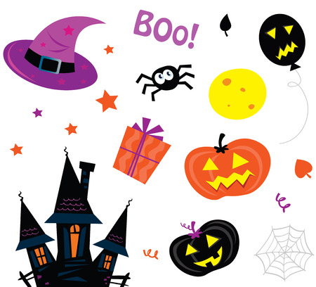 dracula castle: Halloween icons set isolated on white. Vector halloween icons - spider, balloon, moon, pumpkin head and scary haunted house