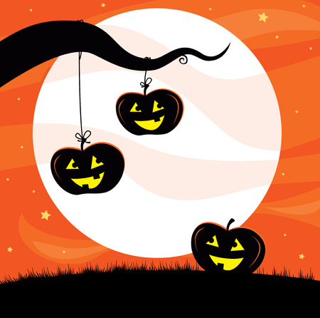 Halloween Jack OLantern Tree background Vector