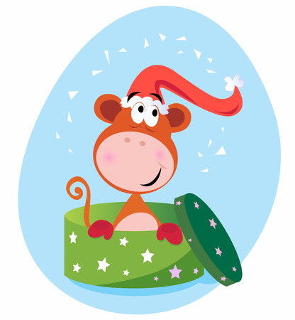 Christmas or birthday surprise This cute brown monkey is perfect present!  cartoon Illustration. Vector