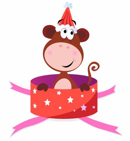 Christmas present: Monkey in red box Illustration