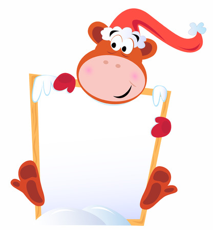 Cute christmas Monkey holding blank banner sign Vector