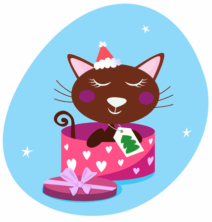Brown christmas cat in pink gift box Vector