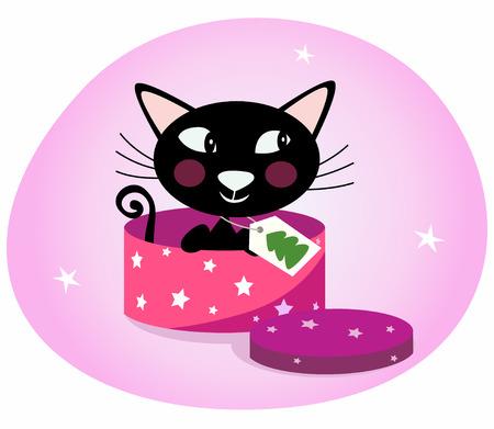 Black Christmas kitten in a pink gift box. Illustration.
