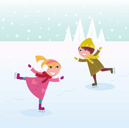 Two kids in winter costumes practicing ice skating on frozen lake. cartoon illustration. Vector