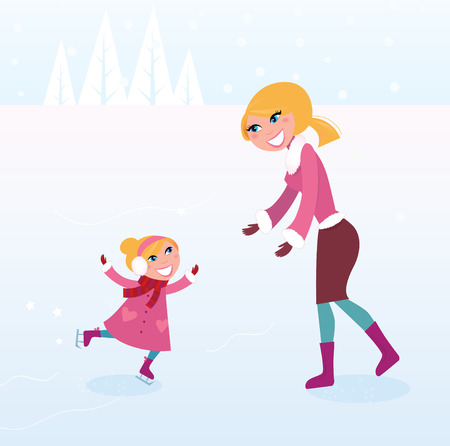 Christmas ice skating: Mother and daughter. Mother carying about her small girl by ice skating.Illustration. on ice Illustration