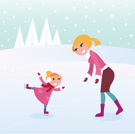 Ice skating girl with her mother on sport stadium. ILLUSTRATION Vector