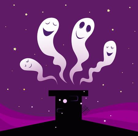 Happy Halloween ghosts flying around black chimney silhouette Vector