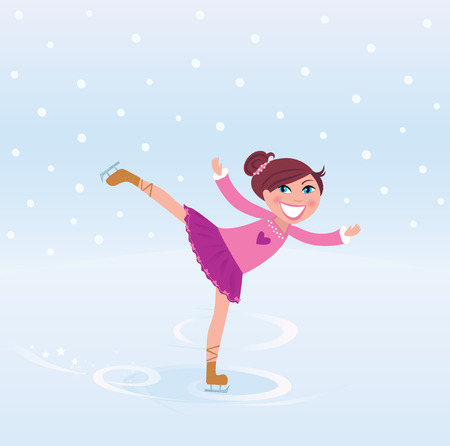 Illustration of figure skating small girl training on Ice Vector