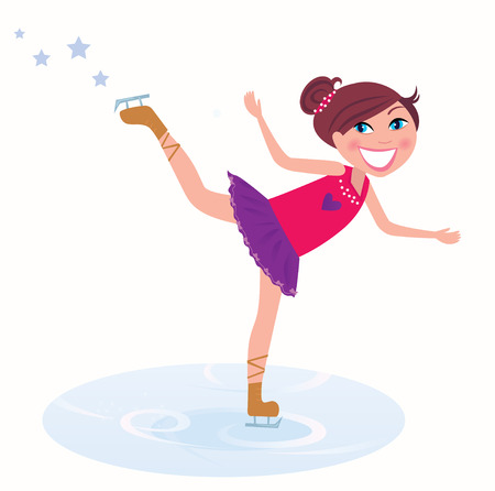 figure skater: Illustration of figure skating cute girl training on the ice