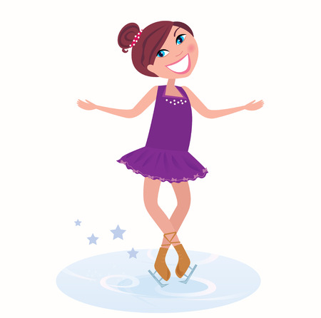 Winter holidays: Young figure skating woman posing on ice Stock Vector - 7951924