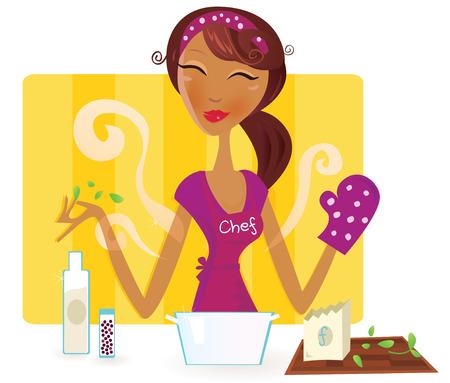 Mujer está cocinando comida en la cocina. Chef de mujer sexy está preparando la cena en la cocina.