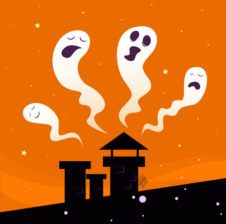 Halloween night: Spooky ghost characters isolated on orange background. Illustration. Vector