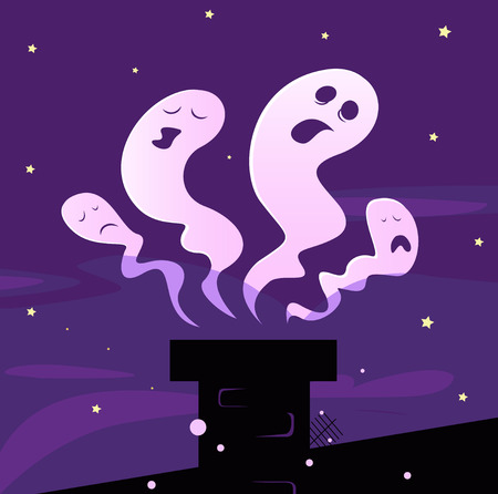 Halloween ghosts flying around chimney isolated on purple background. Vector Illustration. Vector